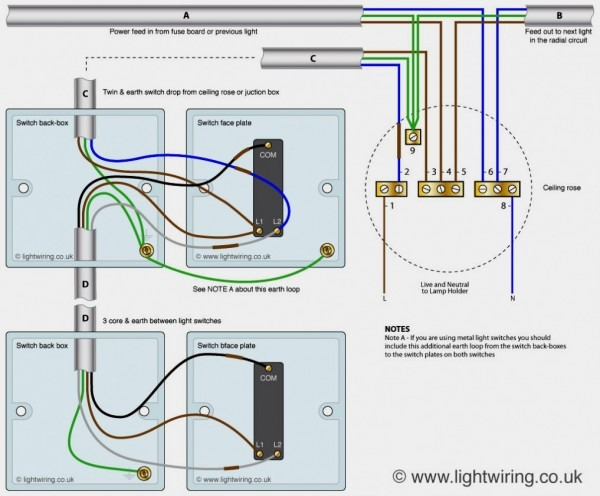 Awesome How To Wire A Light Switch Uk Diagram 2 Way 3 System New