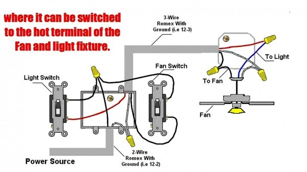 How To Wire A Ceiling Fan With 2 Switches