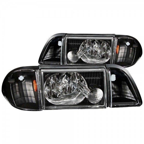 Mustang Headlight Kit Ultra Clear Black Driving Lights 1987