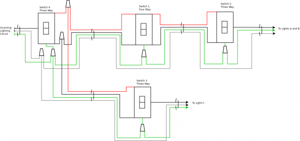 3 Switches 1 Light Wiring Diagram