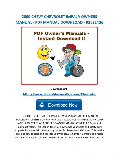 2000 Chevy Chevrolet Impala Owners Manual Pdf Manual Download