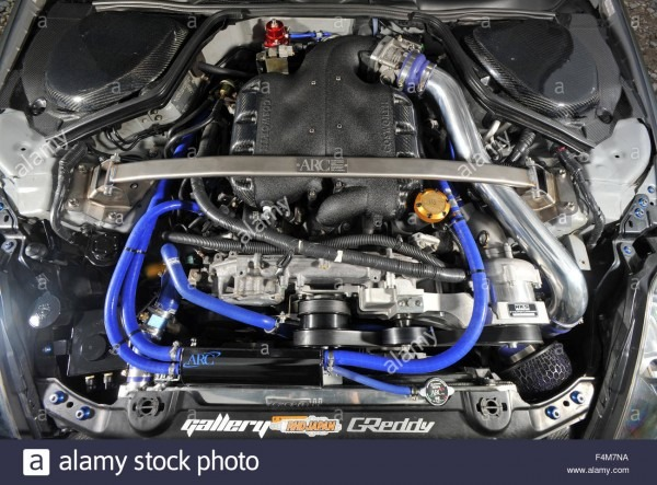 Sports Car Engine Bay, Nissan 350z (tuned Car Stock Photo