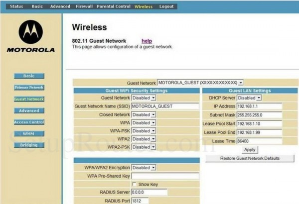 Motorola Sbg941 Screenshot Wireless Guest Network