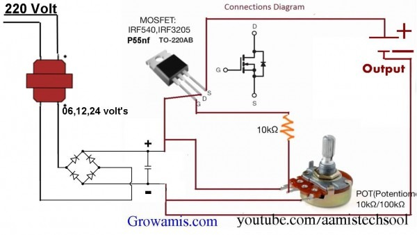 Variable Voltage Regulator Circuit Diagram
