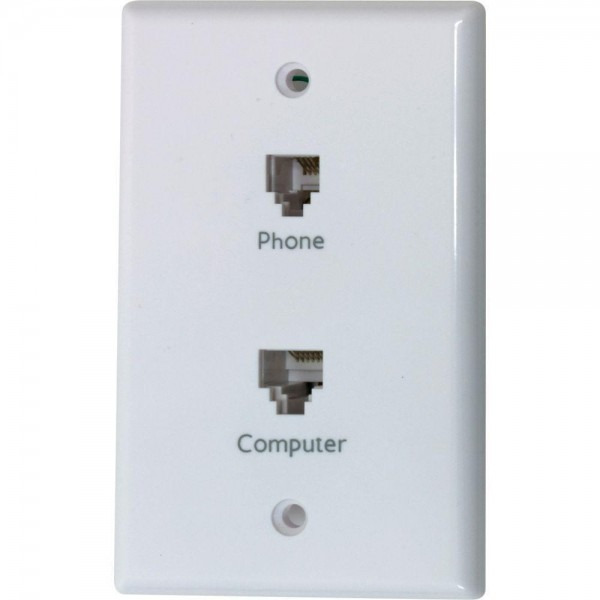 Network Phone Wall Face Plate Double Modular Jack Computer Rj45