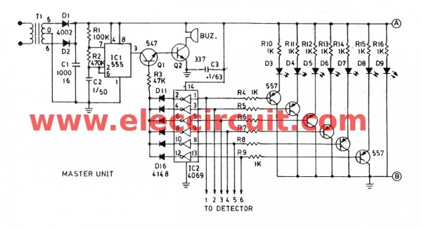 Fire Alarm Circuit Using Infrared