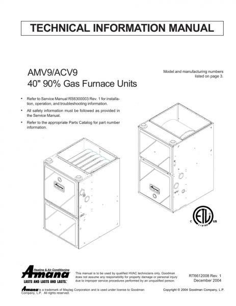 Amana Amv9 Technical Information