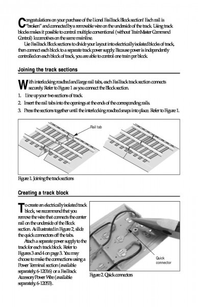 Lionel Fastrack Block Sections