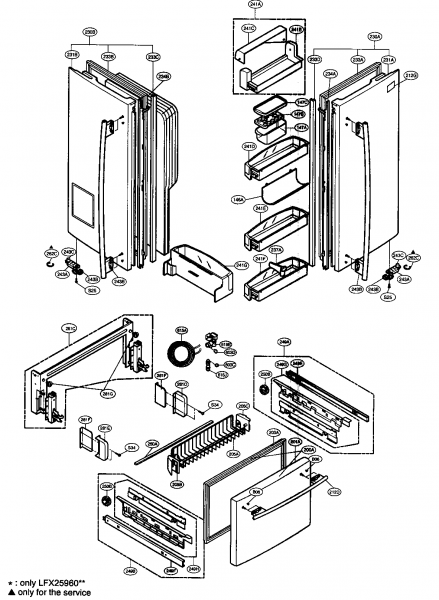 Lg Refrigerator Schematics, Door Parts Diagram & Parts List For