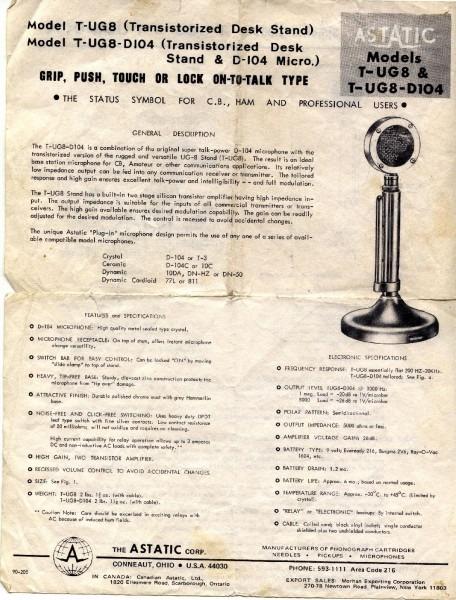 A 1960's Astatic D