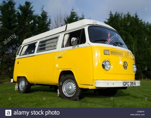 Bay Window Vw Volkswagen Camper Van, Micro Bus Stock Photo