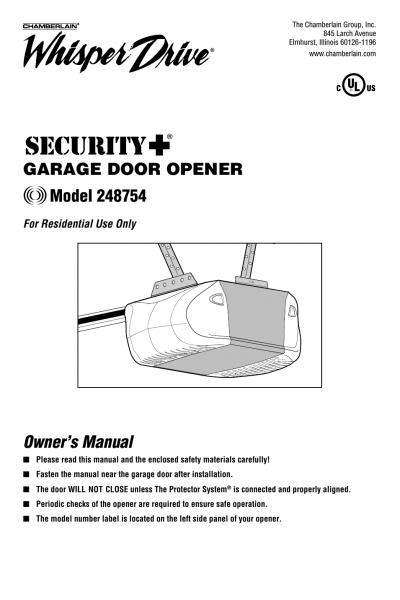 Chamberlain Whisper Drive 248754 User Manual