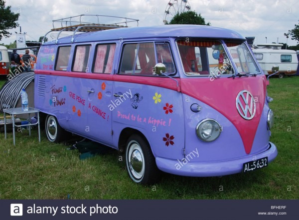 Classic Pink And Lilac Vw Bus Stock Photo  26815027