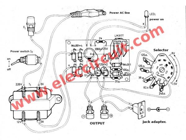 Lm317 Voltage Selector Power Supply 1 5v,3v,4 5v,5v,6v,9v