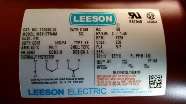Leeson Motor 100204 Wiring Diagram