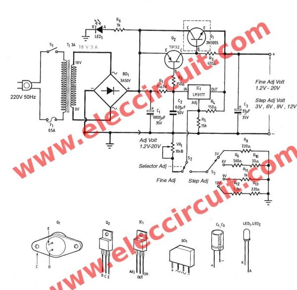 3a Adjustable Voltage Regulator Circuit With Pcb
