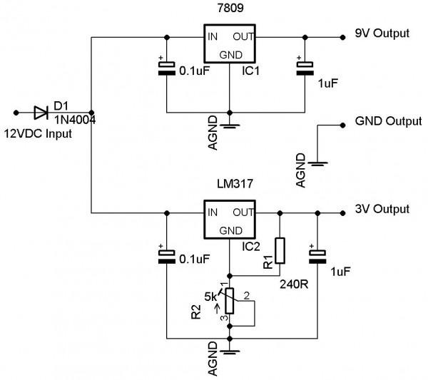 2 Voltage Regulators, 1 Power Source