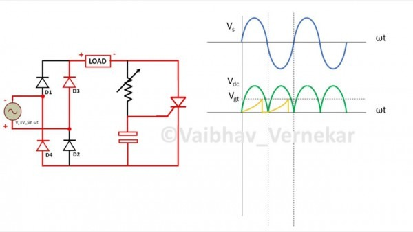 Rc Firing Circuit For Thyristor (scr) Full Wave And Graphs