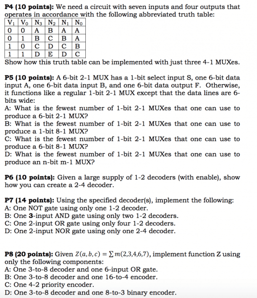 Solved  P4 (10 Points)  We Need A Circuit With Seven Input
