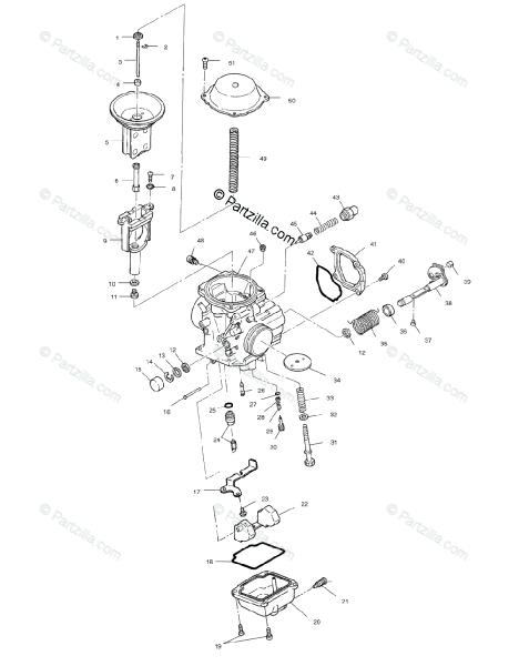 Polaris Atv 1999 Oem Parts Diagram For Carburetor A99ch50eb