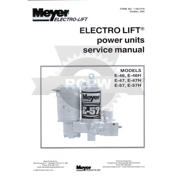 Meyer 03002 Service And Repair Manual For E