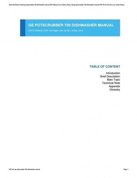 Ge Potscrubber 700 Dishwasher Manual By Briancordon2668