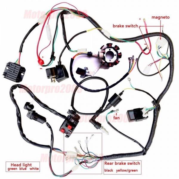 Complete Electrics Atv Quad 200  250cc Wiring Harness Cdi Zongshen