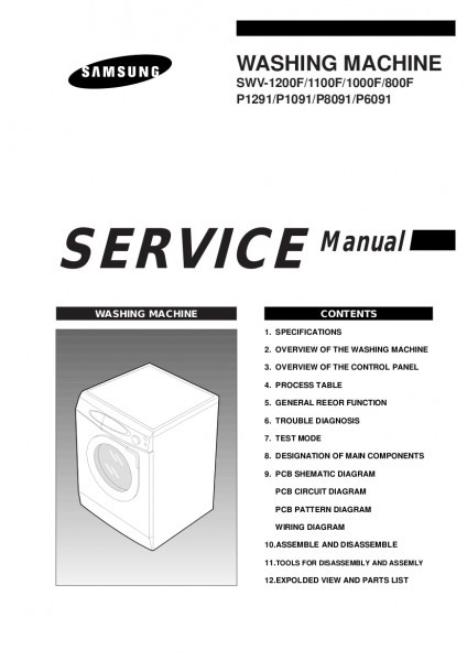 Download Samsung P1091 Front Load Washer Service (repair) Manual