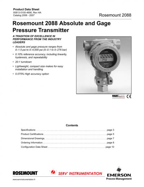 Rosemount 2088 Absolute And Gage Pressure Transmitter