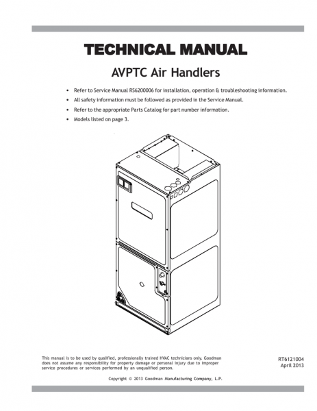 Goodman Avptc Technical Manual