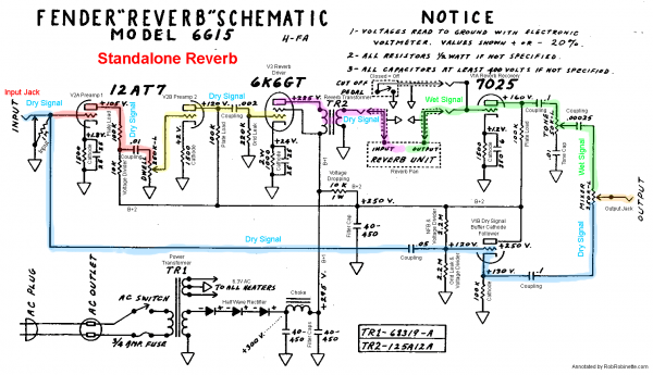 Fender 6g15 Tube Reverb Unit Schematic With Signal Flow By