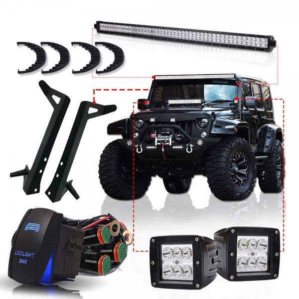 Amazon Com  Turbosii Dot 50  Inch Led Light Bar Offroad Light Fit