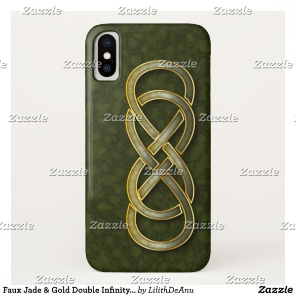 Faux Jade & Gold Double Infinity Symbol On Green Case