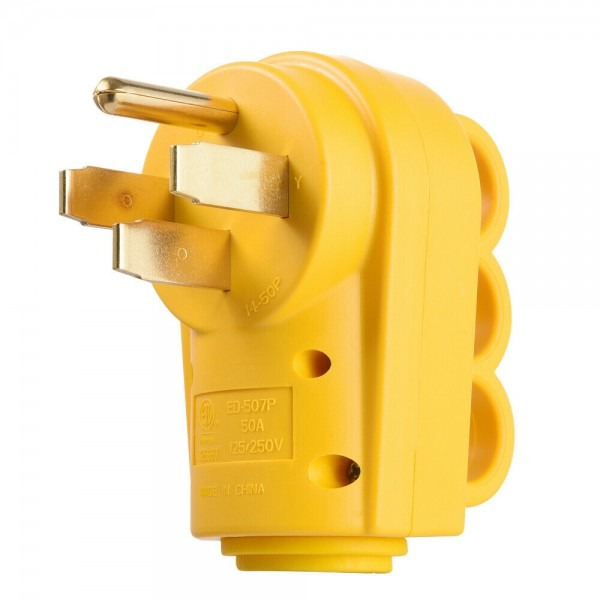 125 250v 50a Rv Replacement Male Plug Yellow Grip Handle Heavy