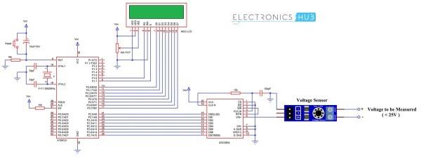 Digital Voltmeter Circuit Using 8051