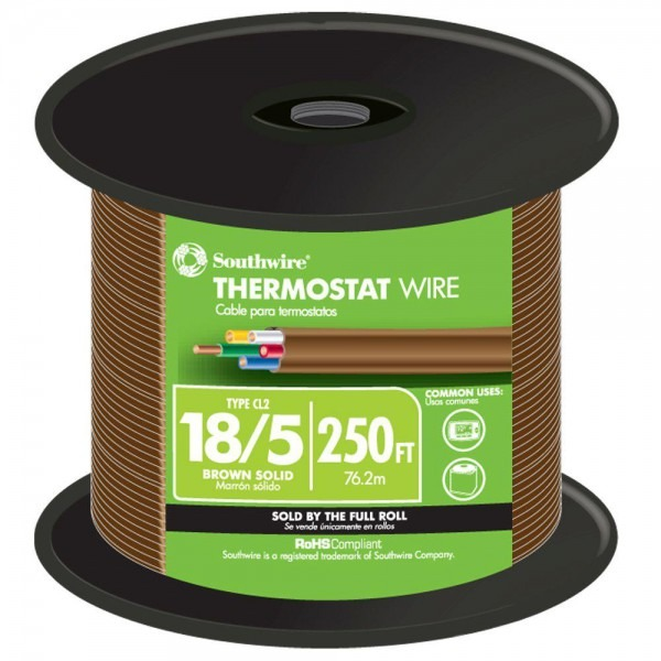 Southwire 250 Ft  18 5 Brown Solid Cu Cl2 Thermostat Wire