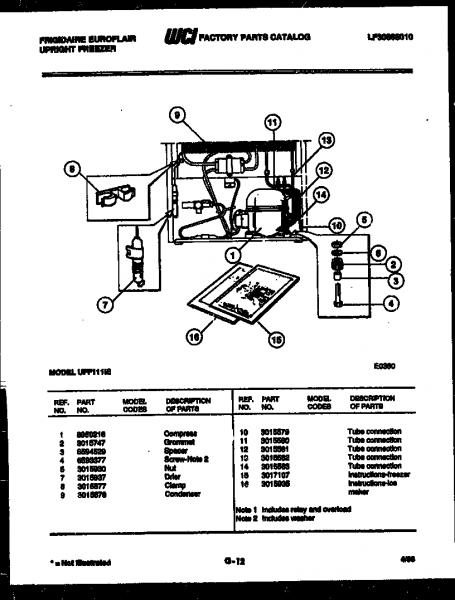 Frigidaire Model Uff111ie Upright Freezer Genuine Parts