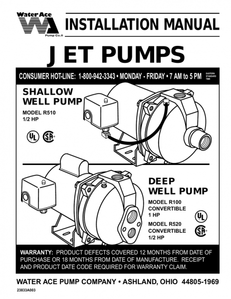 Water Ace Jet Pump Installation Manual