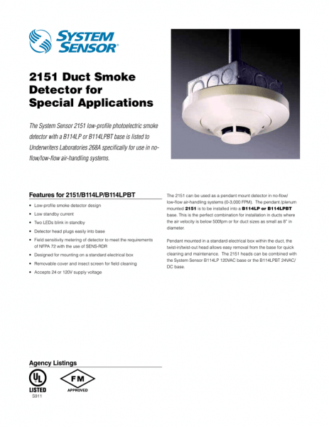 2151 Duct Smoke Detector For Special Applications