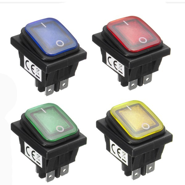 Waterproof 12v 16a Rocker Reset Single Toggle Switch With Led