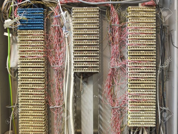 Phone Junction Box, Switchboard With Lots Of Cables Stock Photo