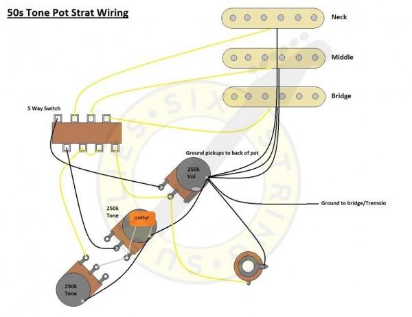 Six String Supplies — 50s Strat Wiring Diagram
