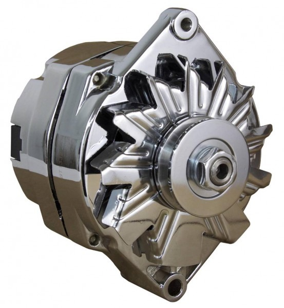 New Chrome Bbc Sbc Chevy Alternator Fits 110a 1 Wire Ho Self