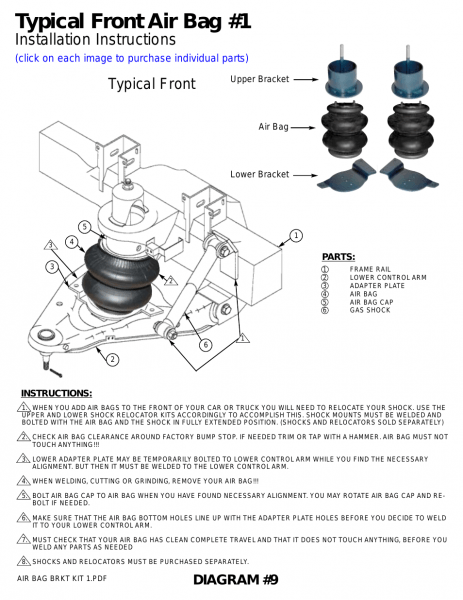Airbagit Front Air Bag User Manual