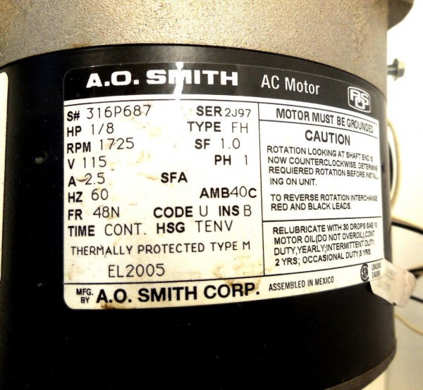 A O  Smith Type Fh Ser 2j97 Ac Motor 1 8 Hp 1725 Rpm 1 Phase