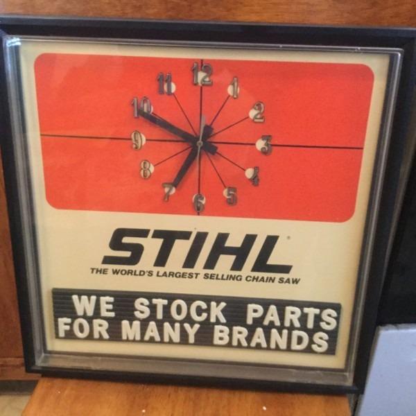 Vintage Original Stihl Chainsaw Dealer Advertising Clock Sign