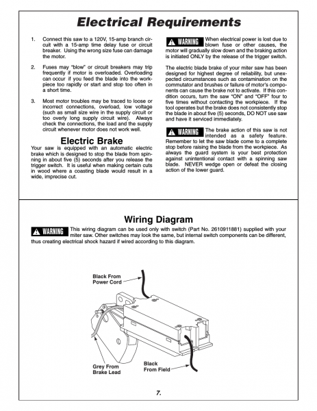 Electrical Requirements, Electric Brake, Wiring Diagram