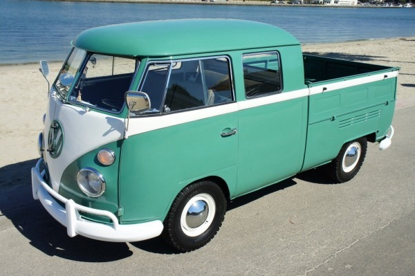 This '66  Volkswagen  Bus  Truck Is The Perfect  Beach Mobile