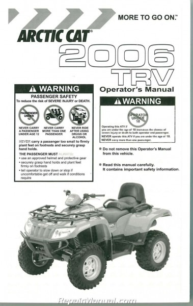 2006 Arctic Cat 400 500 Trv Owners Manual