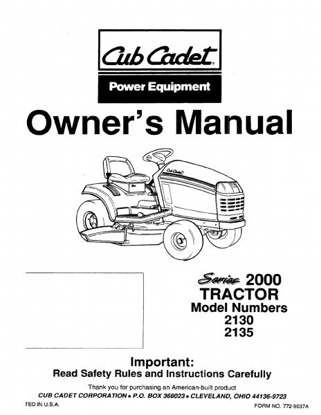 Cub Cadet Lawn Mower 2135 User Guide